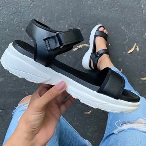 ✨NEW✨Black & White Faux Leather Athletic Sandals